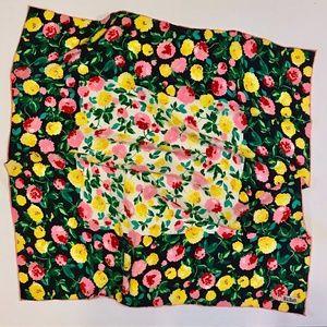 Vintage Bill Blass Pink Yellow Navy Floral Scarf
